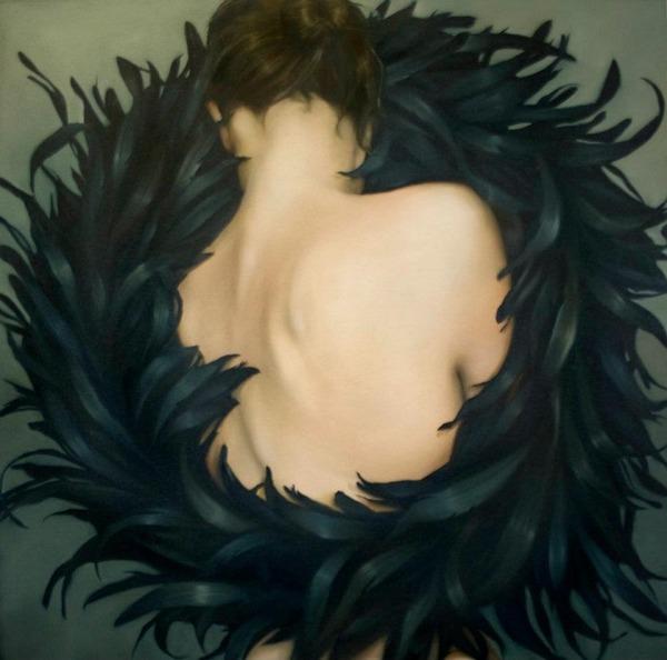 頑なに顔は見せない!顔が隠されたシュールな女性の肖像画 (11)
