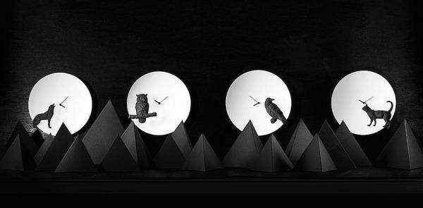 夜行性動物のシルエットが浮かぶ!月のように輝く蓄光時計 (12)
