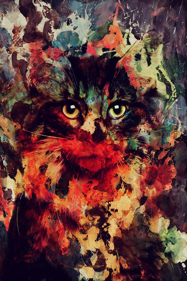 二重露光スタイルによる水彩画の中の野生動物 (1)
