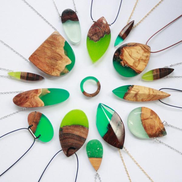 木材と樹脂を組み合わせた神秘的なジュエリーアクセサリー (1)