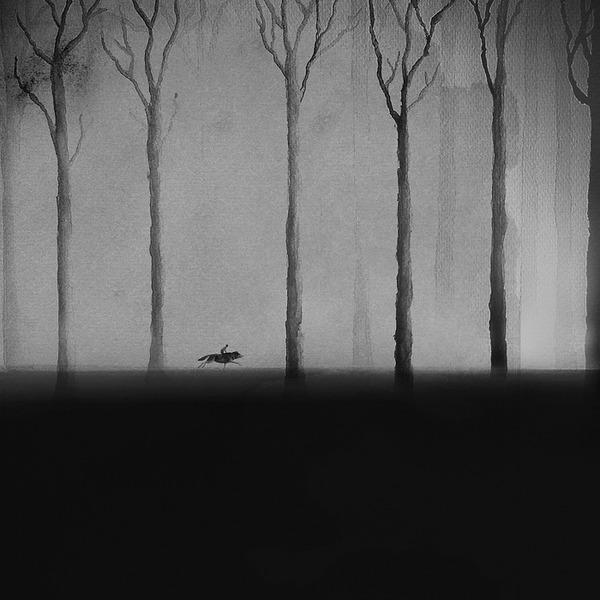 動物と少年のモノクロ絵画 Elicia Edijanto (2)
