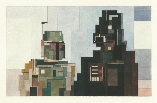 有名な絵画を図形で再構築して描いた彩画 (11)