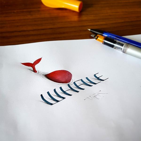 紙上の文字が立体的に!3Dカリグラフィー(Calligraphy) (3)