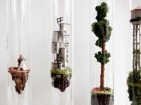 サンプリングされた住宅。試験管の中の手作りミニチュア模型