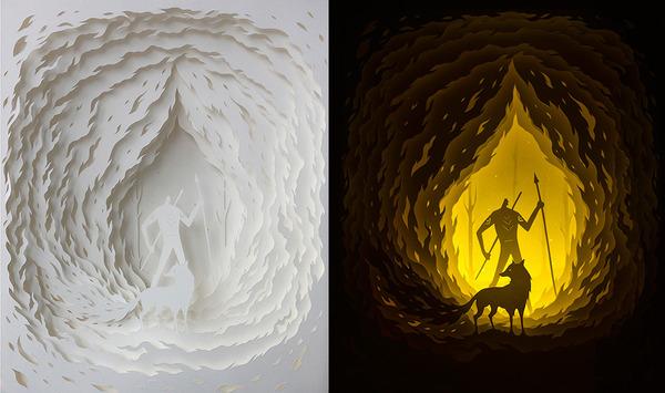 紙のジオラマ!幻想的な架空世界を描くペーパーアート (8)