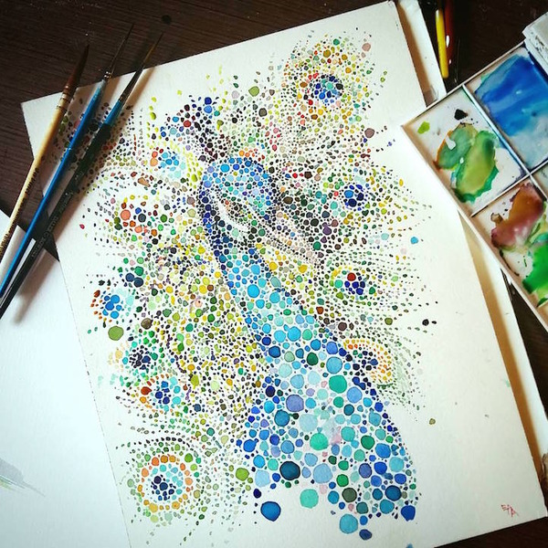 超カラフルな動物の水彩画!色とりどりの点によって描かれる (16)