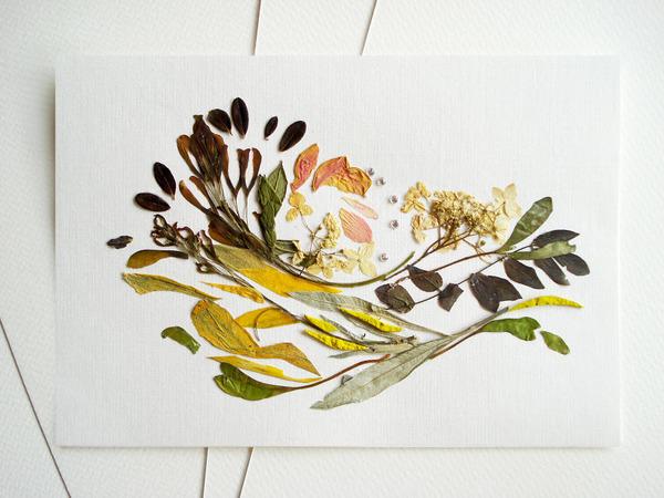 葉や花で自然を描く!植物を素材にした押し花の絵 (1)