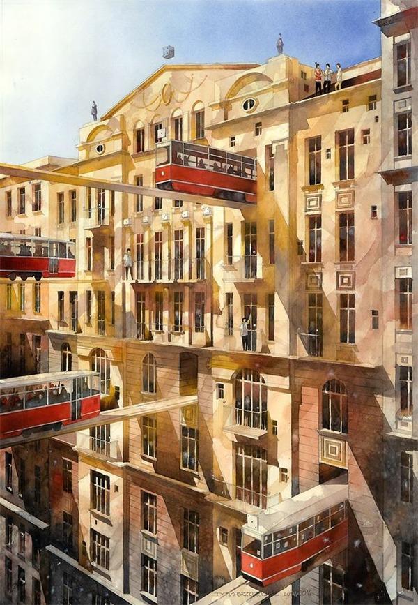 19世紀のポーランドの街並みに触発された都市の水彩画 (9)