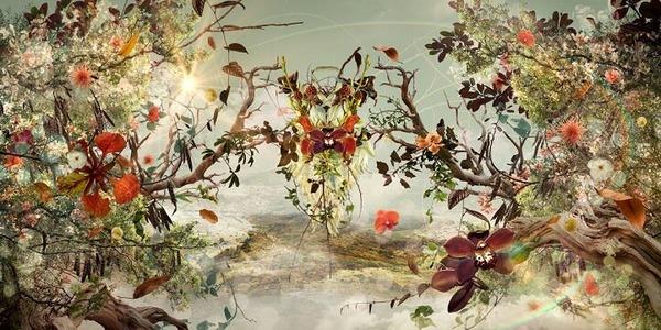 木々や花々を組み合わせて作られたコラージュ画像 (11)