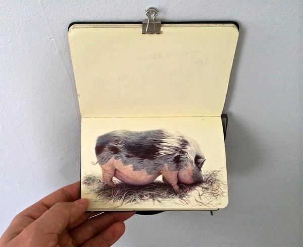 画家が小さなスケッチブックに描くボールペン画がすごい! (7)