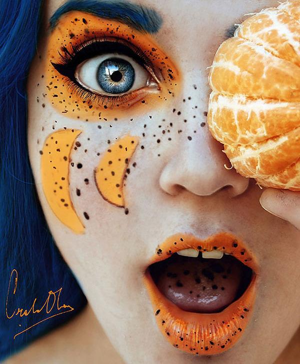 奇抜なフルーツメイク!果物に触発されたセルフポートレート (10)
