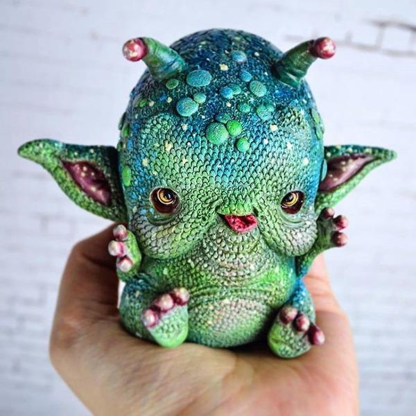 キモカワ!?ポリマークレイ製の手作りクリーチャー人形 (18)
