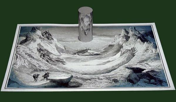 アナモルフィックアート!歪像を鏡で反射絵画 (12)