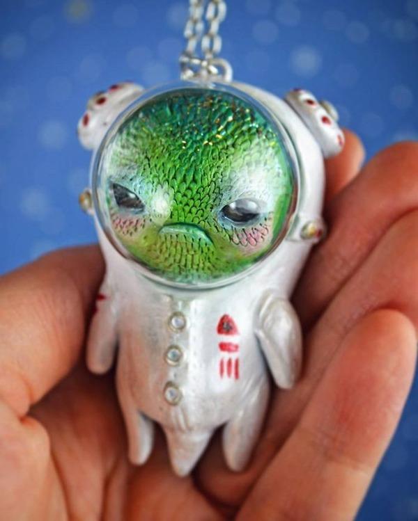 キモカワ!?ポリマークレイ製の手作りクリーチャー人形 (8)