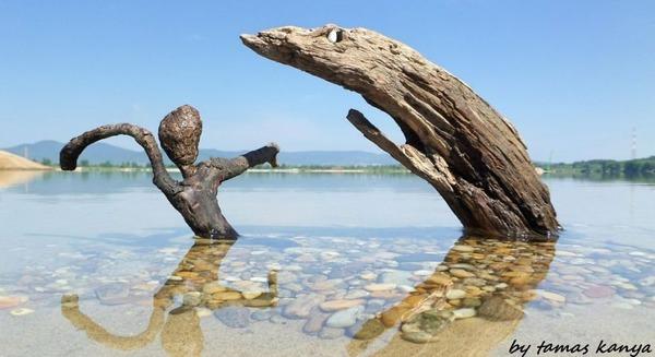 歪な形がゾンビっぽい!ドナウ川の流木で作られた彫刻作品 (17)
