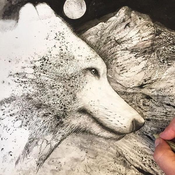 インクを注ぎ、飛び散らせてカオスなイラストレーションを描く (9)