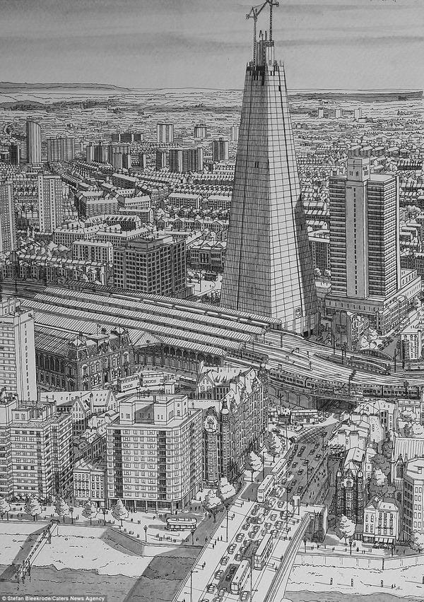 超精密!記憶を頼りに世界の都市景観を描くモノクロ絵画 (7)