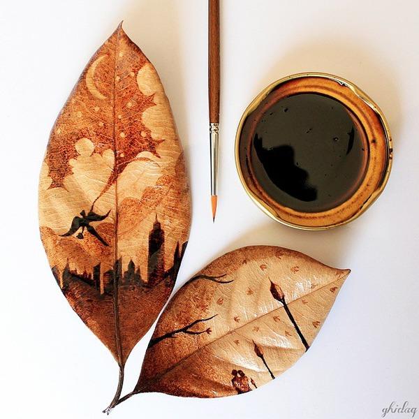 枯葉に描くコーヒ画,珈琲 (4)