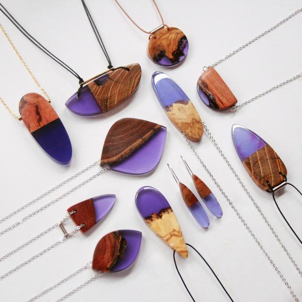 木材と樹脂を組み合わせた神秘的なジュエリーアクセサリー (4)