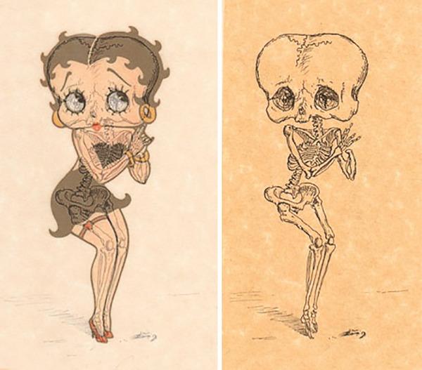 解剖学?漫画やアニメのキャラクターに骨付けしたイラスト! (3)