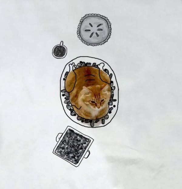 才能の無駄遣い?香箱座りの猫の画像にみんなで落書き! (1)