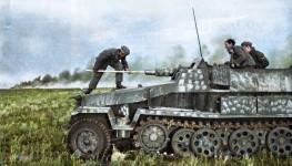 鮮明にカラー化された白黒写真。第二次世界大戦中WWIIの画像