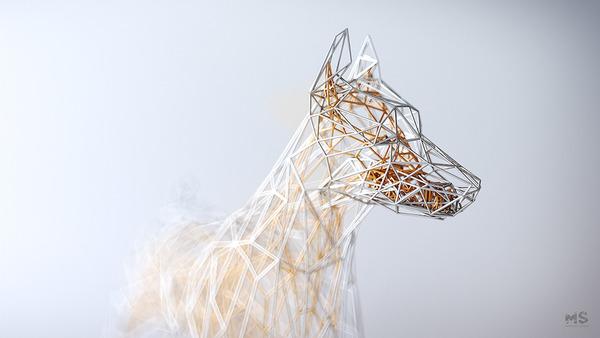 3Dポリゴンみたいな幾何学的動物彫刻 (5)