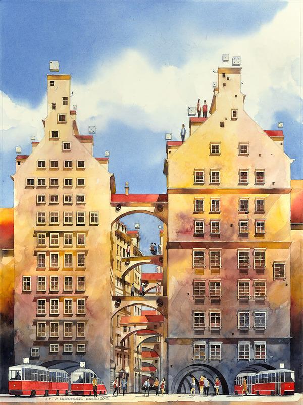 19世紀のポーランドの街並みに触発された都市の水彩画 (3)