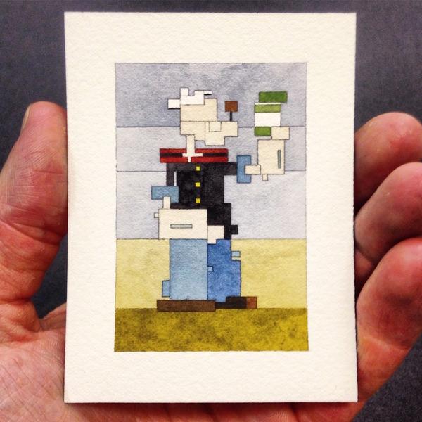 有名な絵画を図形で再構築して描いた彩画 (9)