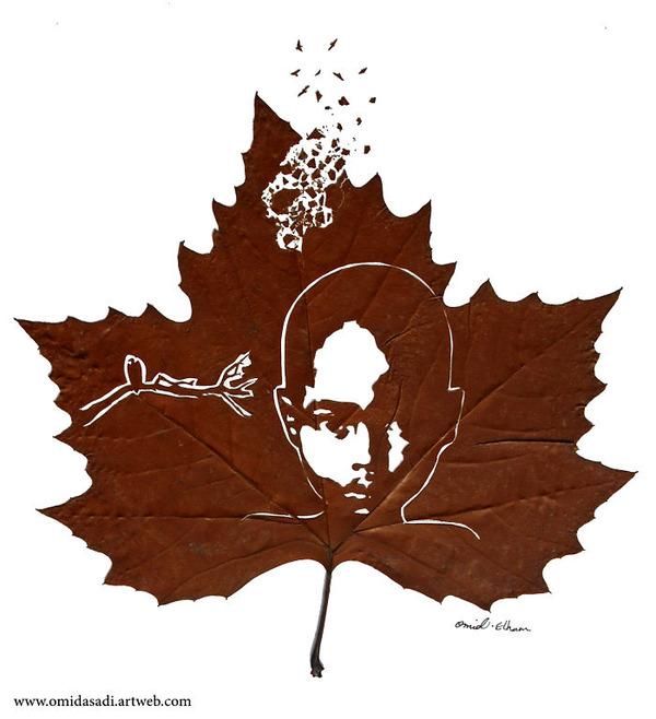 脆くて繊細な落ち葉にモチーフを彫る!カッティングアート (3)