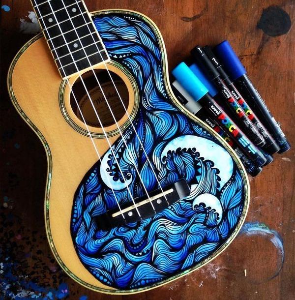 マーカーペンを使用して楽器にお洒落なペイント! (6)