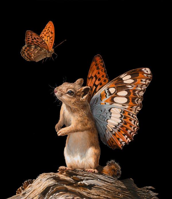 蝶々の羽が生えたネズミやリス小動物を描いた絵 (6)