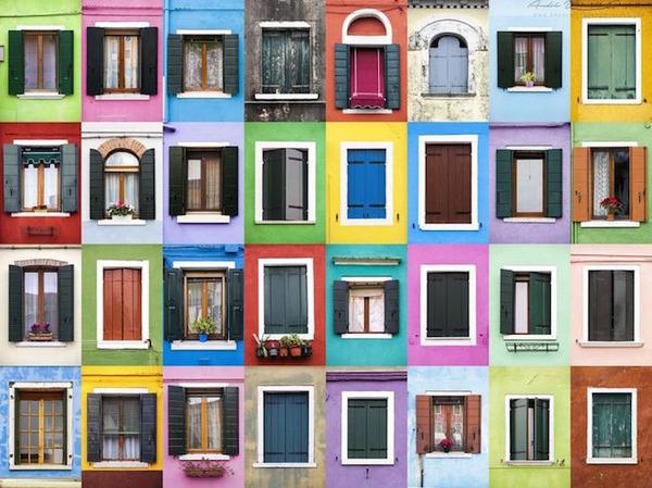 イタリア、ブラーノ島の玄関ドア