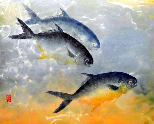 日本文化『魚拓』で描かれる海外アーティストによる絵画作品 (2)
