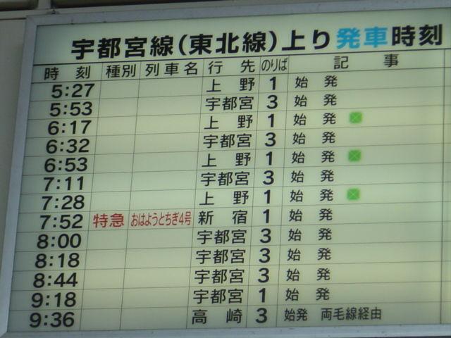 黒磯駅時刻表(2007年) : E231-Rabbitのblog