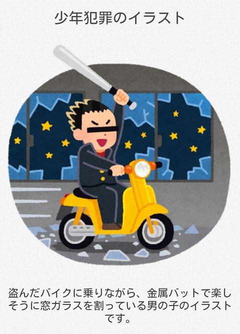 いらすとや「盗んだバイクに乗りながら金属バットで楽しそうに窓ガラスを割っている男の子のイラストです」