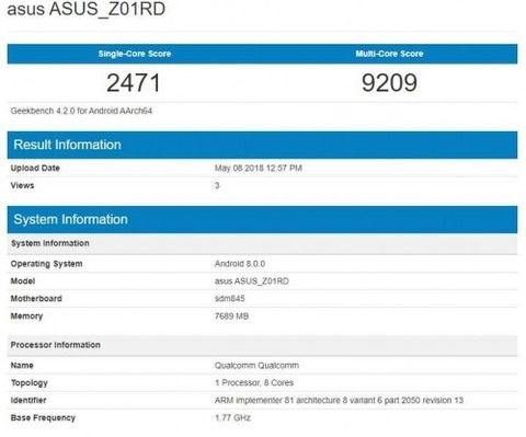 ZenFone 5Z ZS620KL Geekbench