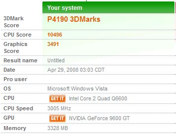 3DMarkVantage 9600GT