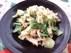 チンゲン菜と厚揚げの生姜味噌蒸し