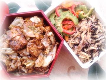 キャベツと豆腐のバルサミコ醤油丼弁当