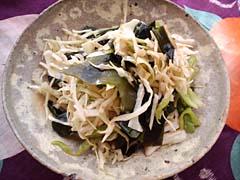 キャベツ・ピーマン・わかめのバルサ醤油サラダ