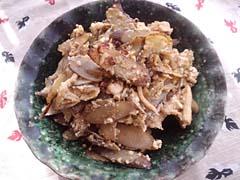 ごぼうと豆腐の花椒味噌炒め