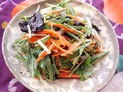 にんじんと水菜のバルサ海苔サラダ