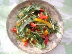 水菜とパプリカのバルササラダ