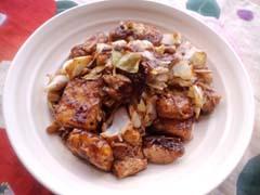 キャベツと豆腐のバルサミコ醤油丼