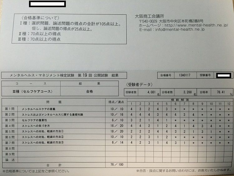 メンタル ヘルス マネジメント 検定 解答 速報 29 回