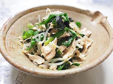にら・もやし・鶏ささみの韓国海苔ナムル