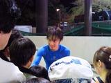 インタビューを終えた青きシャツのうおちゃん