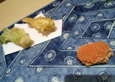 天ぷらと焼きたらこ