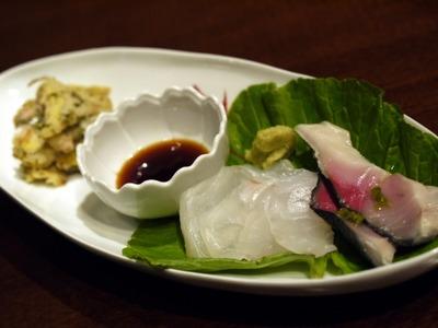 炙り〆鯖と真鯛の昆布〆 アーティチョークのマリネ
